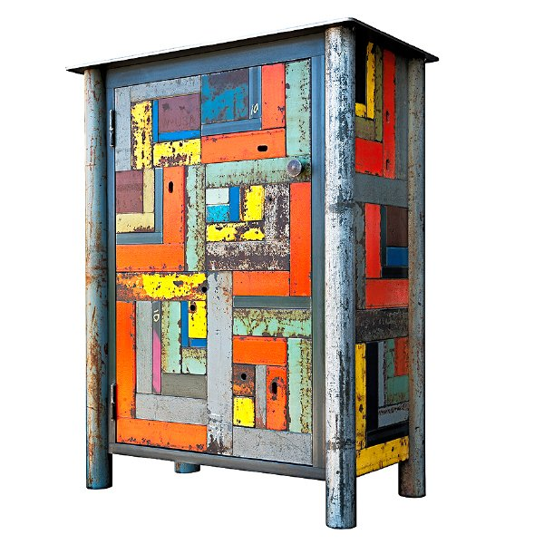 One Door Housetop Quilt Cupboard 30(W) X 17(D) X 36(H) Hot roll & found painted steel