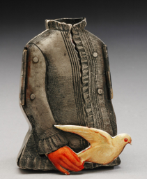 art depicting a leather jacket with a red glove holding a dove