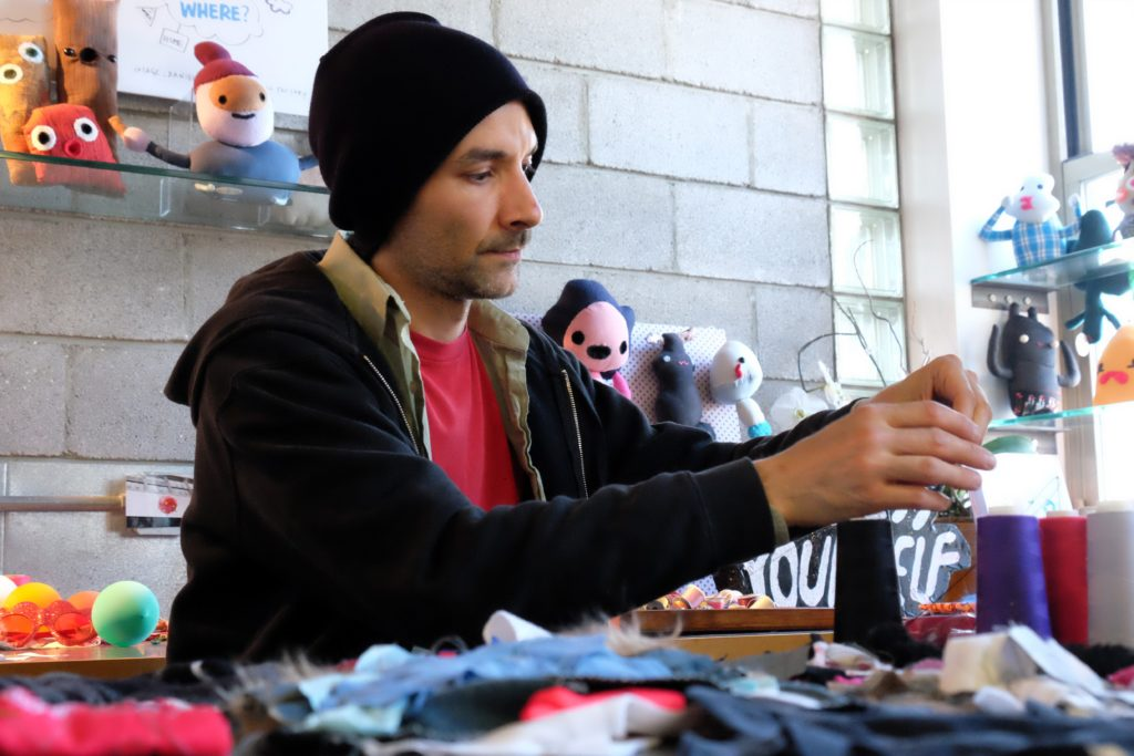 Daniel Baxter at work in his Kreepy Doll Factory