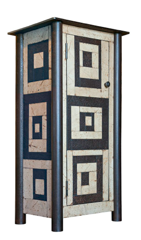 1 Door Quilt Cupboard Found steel w/ natural rust patina & paint