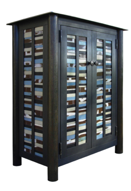 Strip Quilt Cupboard 40 x 32 x 18 Found steel with natural rust patina and paint SOLD!