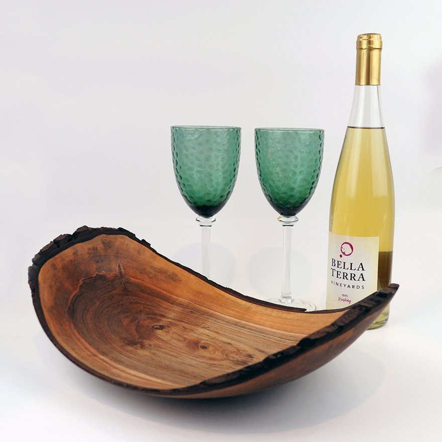 David Dudney natural edge wood plate, wine, and glasses set