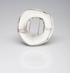 Lydia Martin silver brooch hollow form
