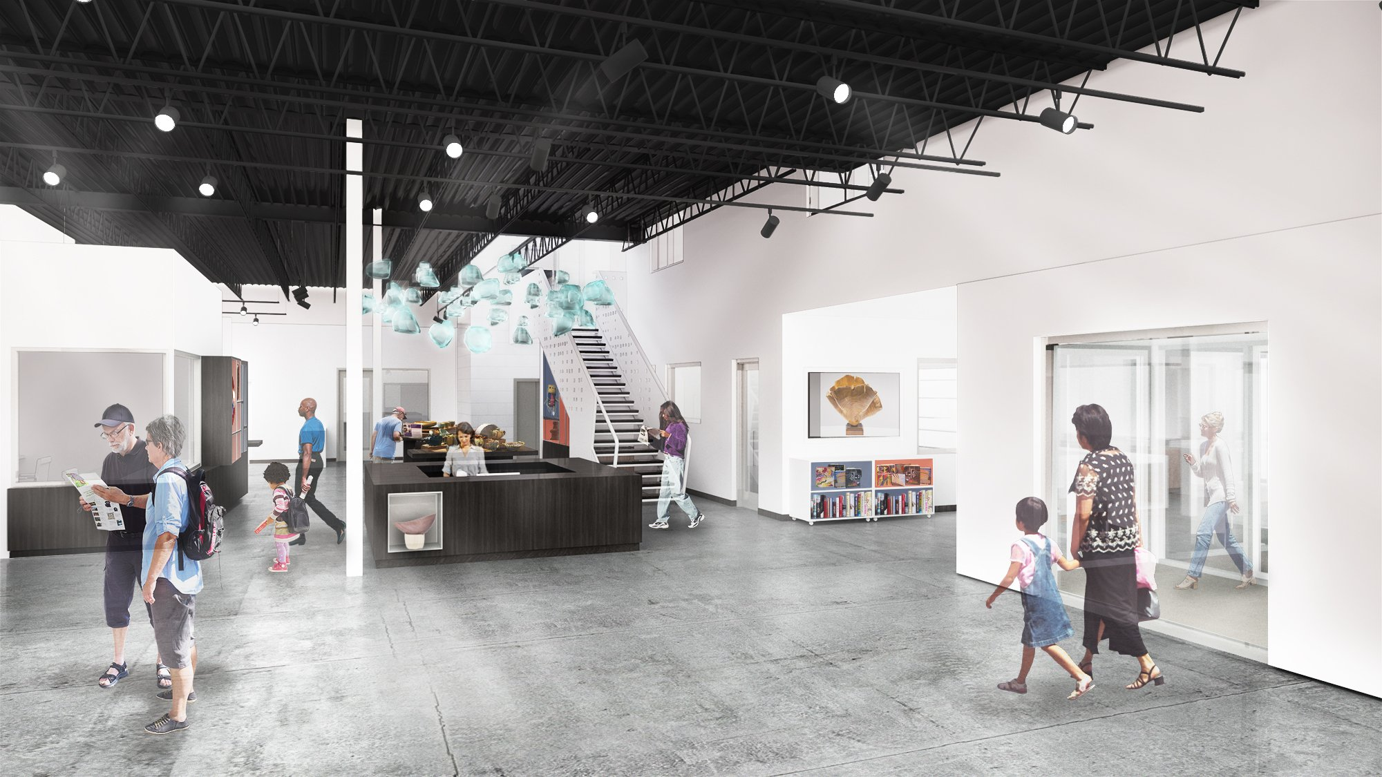 Contemporary Craft Lawrenceville interior rendering of lobby and The Store